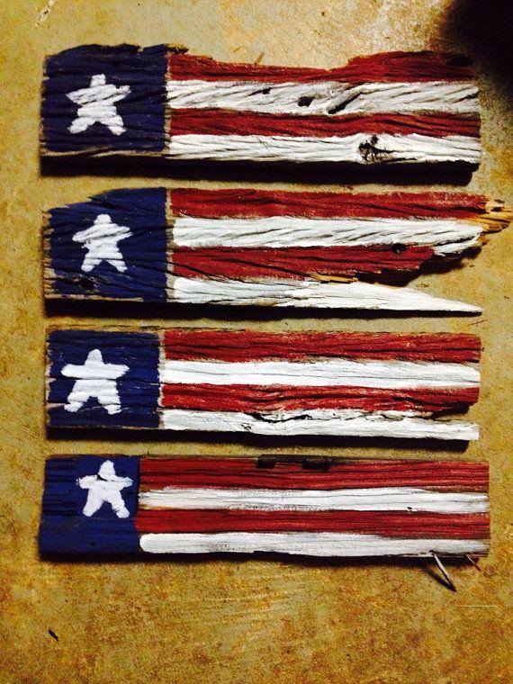 Primitive flag painted on barn wood