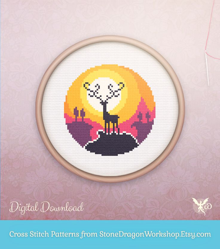 "Looking for a fun new cross stitch project? Get SUNSET DEER from Stone Dragon Workshop on Etsy! These decorative & modern patterns produce pretty finished stitches & fit perfectly in a 6"" hoop on 14 ct aida. Each pattern is designed using a small, but effective DMC floss colour palette, making them fun & easy to stitch - perfect for seasoned stitchers & beginners alike!"