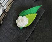Special White green rose felt wedding boutonniere for groomsmen