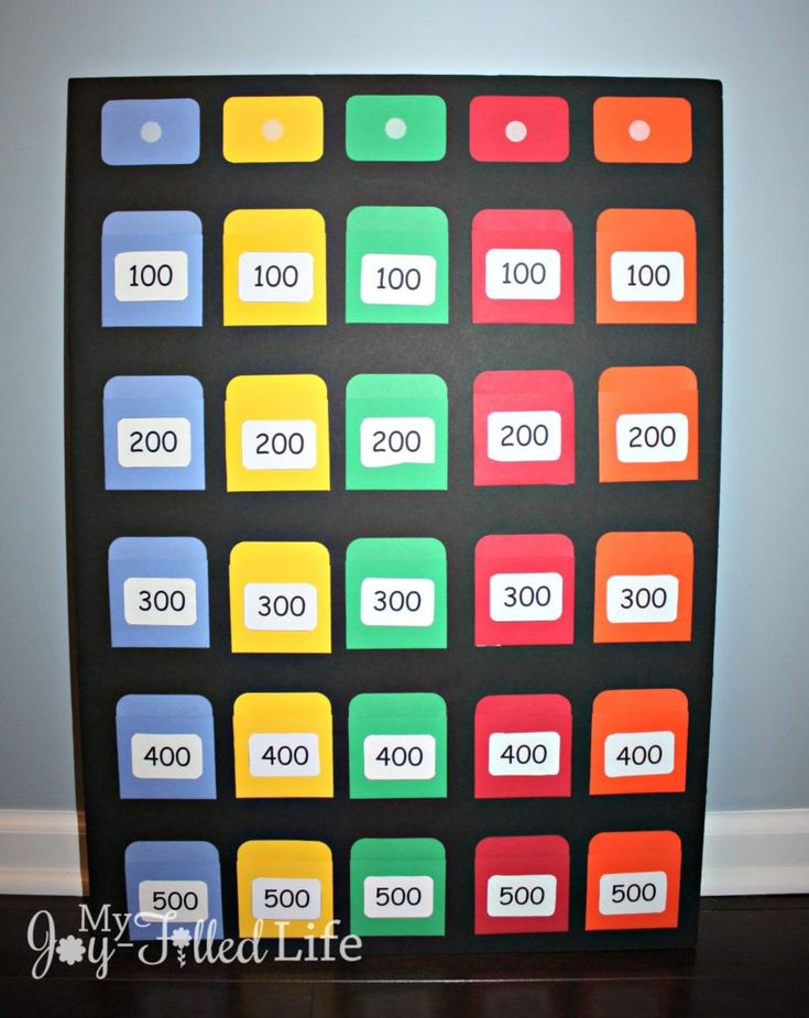 DIY Jeopardy Game Board Board games, Games, Games for kids