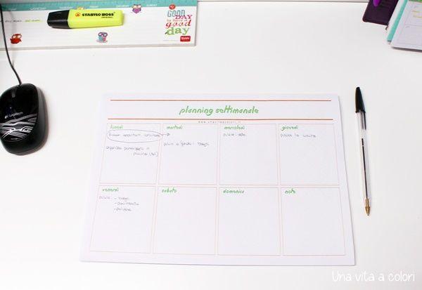 Planner settimanale da stampare per scrivania