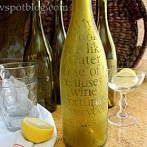 Hometalk :: Upcycling empty wine bottles into etched water carafes