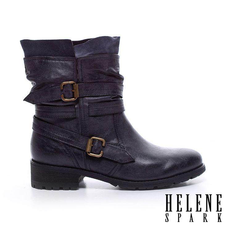 HELENE SPARK 帥氣流行繫帶造型低跟中筒靴- 藍 - Yahoo!奇摩購物中心