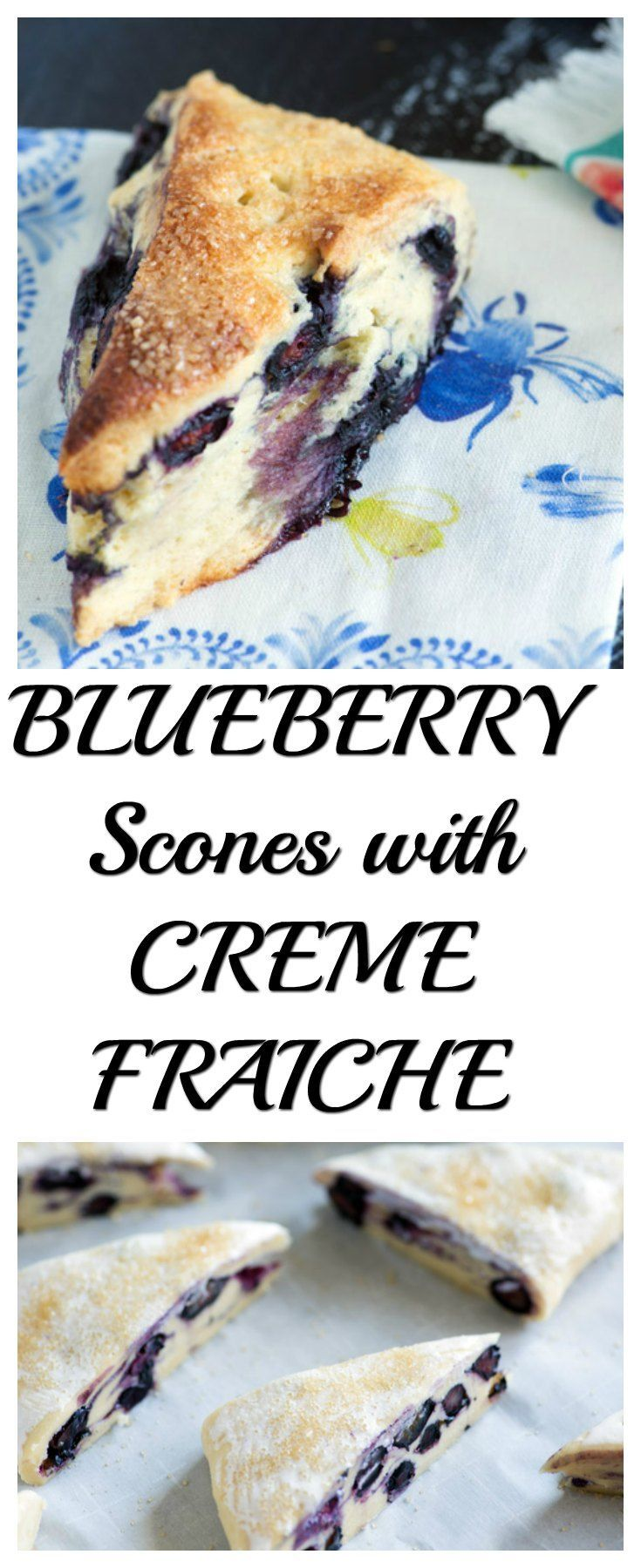 Blueberry scones made with creme fraiche are amazing for breakfast or tea. The pastry is heavenly and not too sweet. With this tried and true technique yours will turn out perfect every time. |butterandbaggage.com #recipe #breakfast #scone