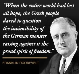 "'Oxi' Day in Greece. The Greeks were told by Hitler to let the Nazis pass through, and they simply said ""No."""