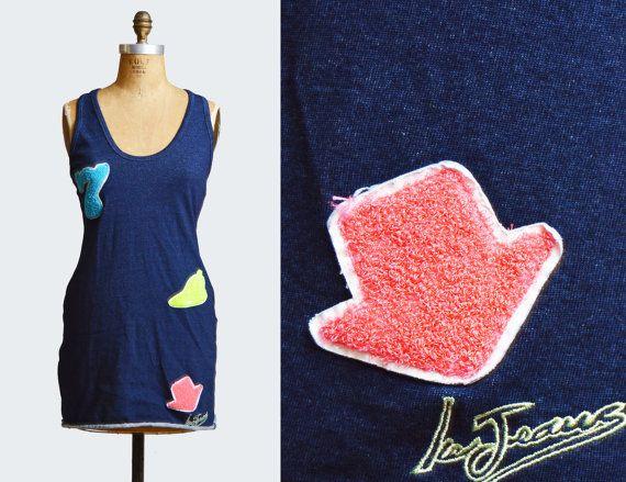 Vintage 90s Patch Appliqué Mini Dress CRISS CROSS Open Back Iceberg Jeans / 1990s Blue Denim Sleeveless Backless