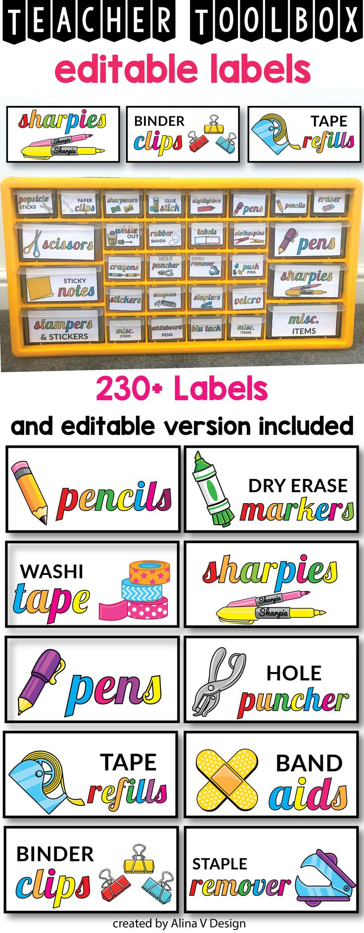 Bright teacher toolbox organizer printable will help you decorate your classroom in a classy and modern way on a budget. The bright and colorful labels will add a calming tone and will work perfectly with other decor elements. If does not matter if you teach kindergarten, elementary or middle school, this classroom labels will add a pop of color in your class.