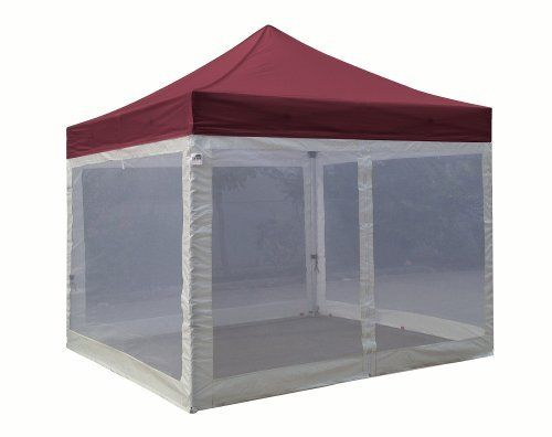 Eurmax Standard Ez Pop up Canopy with Four (4) Screen Walls and Wheeled Bag Bonus Awning (10x10ft, Burgundy Top with White Screen Walls) by Eurmax. $289.95. Canopy top:400 Denier Polyester,Water Resistant,100% UV Protection,Fire Resistant: CPAI-84/ULC S109 & NFPA 701 Flame Retardancy Standards.canopy size:10x10Feet. weight:8LBS. 4 zippered white screen sidewalls with one entry door,Bottom and Side Lining - Polyethelene. Frame size:10x10Feet / weight:64LBS. Heavy duty stee...