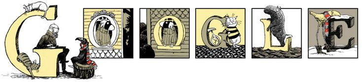 You know what I love about the illustrated Google logo series? You get to learn the most fantastic facts - like this one, celebrating Edward St. John Gorey's life.    Edward Gorey lived from Feb 22 1925 to April 15 2000. He was an American writer and artist who was celebrated for his macabre illustrated books, including the illustrated alphabet demonstrating interesting ways to die.