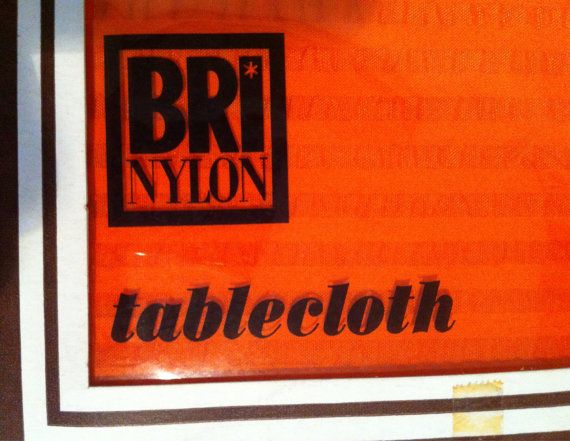 Boxed bright orange tablecloth very 70's. by VintageBe1 on Etsy
