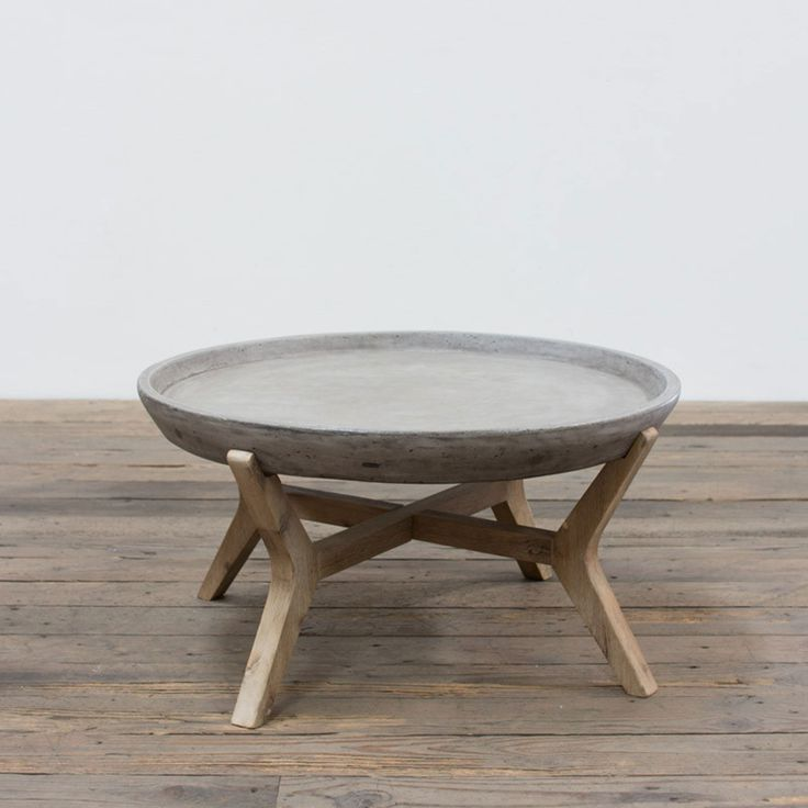 Angelo:HOME : Concrete And Wood Coffee Table   Round