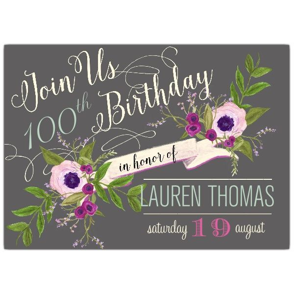 Floral Vine Banner 100th Birthday Invitations