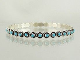 Sterling Silver Turquoise Bangle Bracelet - Zuni | Native American Jewelry