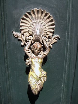 Not just any door knocker --- but one w/Goddesses & Mermaids on Cité ...