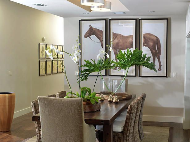 Creative Ways to Display Art : Decorating : HGTVDining Rooms, Green Home, Dining Room Tables, Horses Art, Hors Art, Display Art, Horses Pictures, Hors Prints, Horse Art