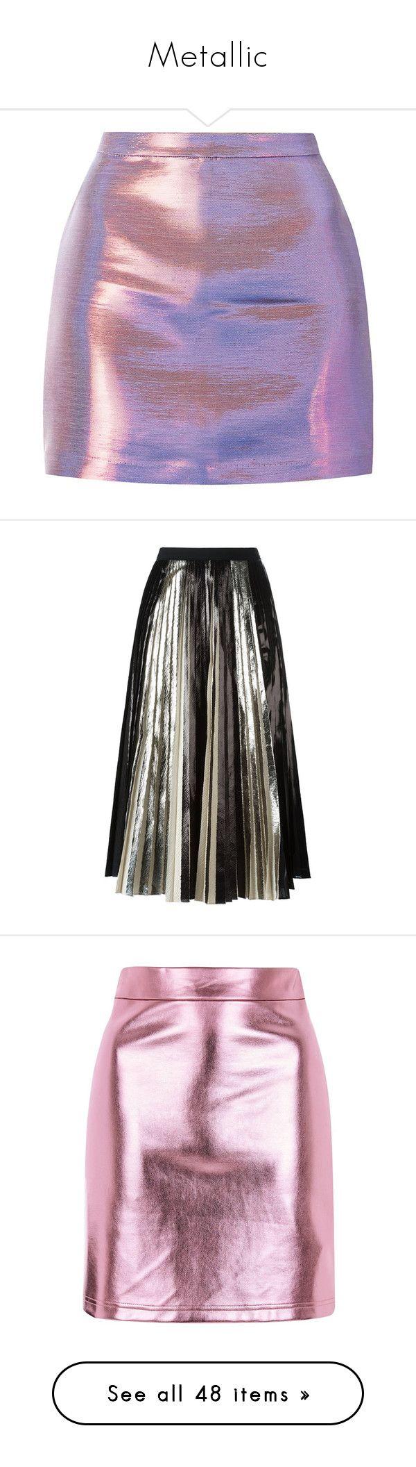 """Metallic"" by savemilkdrinkblood ❤ liked on Polyvore featuring skirts, mini skirts, bottoms, saias, faldas, zipper mini skirt, purple skirt, going out skirts, metallic mini skirt and shiny skirt"