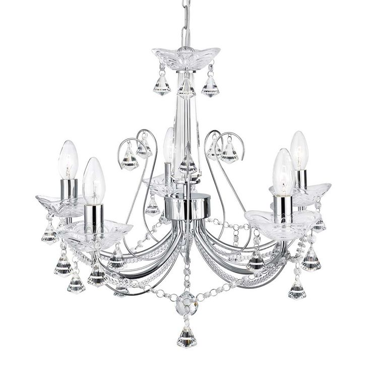 1395-5CC Lafayette 5 Light Crystal Chandelier With Clear Crystal Column and Crystal Buttons