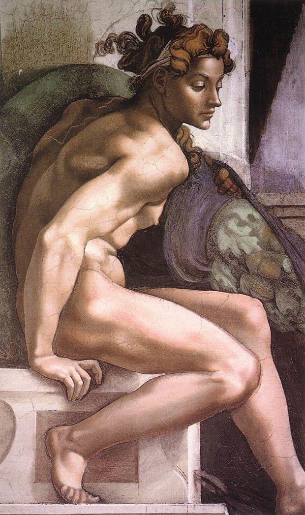 Michelangelo, Ignudo, c. 1512, Sistine Chapel, Rome, hot renaissance boys