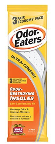 Odor-Eaters Ultra Comfort Odor-Destroying Insoles, One Size Fits All, Economy Pack, 3 Pairs per Pack, (Case of 3 Packs) Odor-Eaters http://www.amazon.com/dp/B000NSS1DC/ref=cm_sw_r_pi_dp_2DqKub00G7A6P