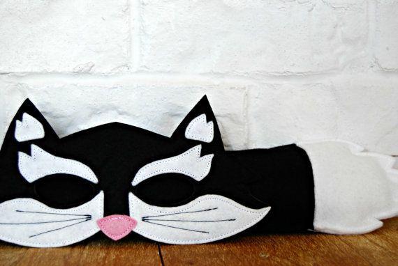 CHILD Felt Cat mask and tail set Halloween by littlebitdesignshop, $35.00