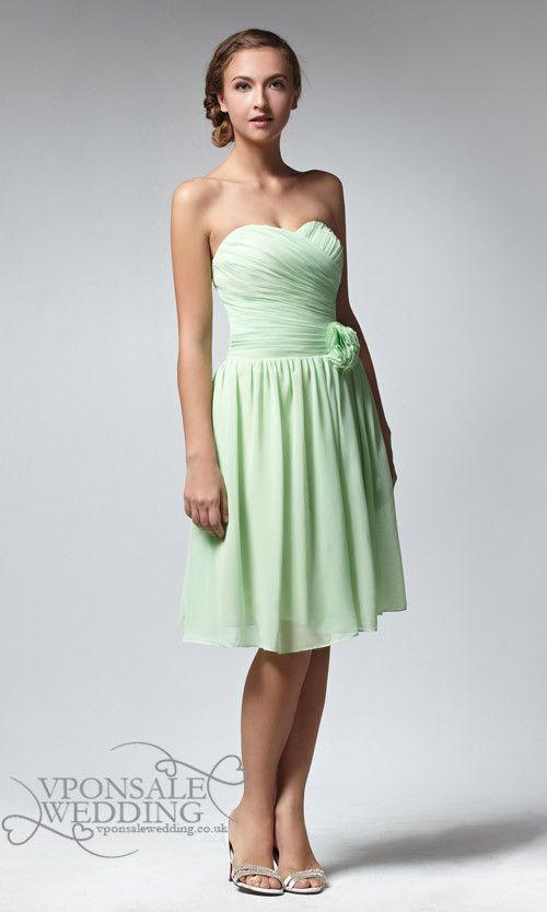 Short strapless apple green bridesmaid dress dvw0047 for Apple green dress for wedding