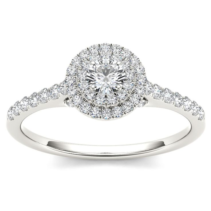 De Couer 10k White Gold 1/2ct TDW Diamond Double Halo Engagement Ring (H-I, I2) with Bonus Necklace - Overstock™ Shopping - Top Rated De Couer Engagement Rings