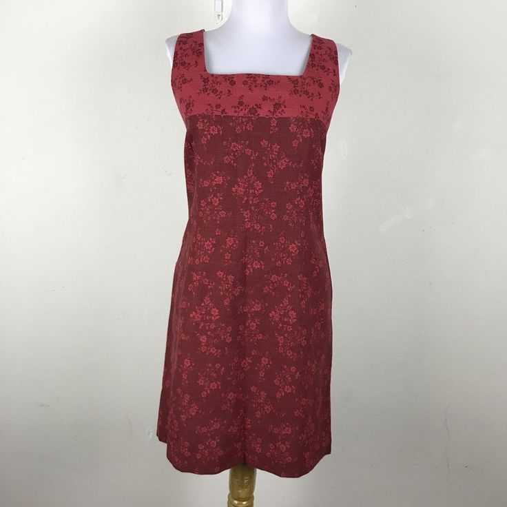 Ann Taylor Loft Dress 10P Petite Shift Maroon Floral Sleeveless Linen Cotton #AnnTaylorLoft #ShiftDress