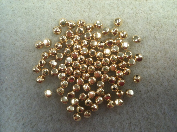 3mm rounded square bead 100pk gold plated. $5.50, via Etsy.
