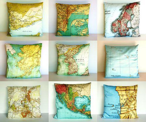 Map pillows!: Ideas, Organic Cotton, Map Pillows, Maps, Cushion Covers, Bearded Pigeon, Diy, Map Cushion, Cotton Map