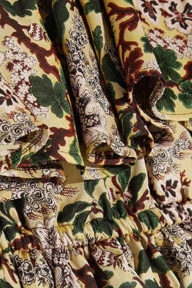 Philosophy di Lorenzo Serafini - Off-the-shoulder Floral-jacquard Mini Dress - Green - IT40