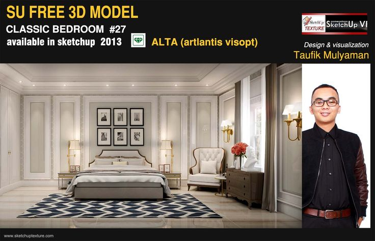 GREAT FREE SKETCHUP 3d Model , fine classic bedroom, and #artlantis alta, courtesy by Taufik Mulyaman http://www.sketchuptexture.com/2015/01/free-sketchup-model-refined-classic-bedroom-27-artlantis-alta.html