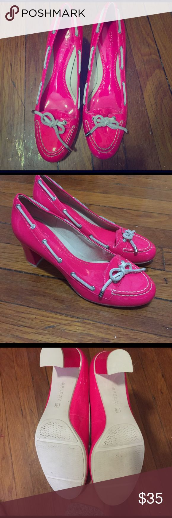 New hot neon pink sperry top sider heels nwot Very Elle Woods of legally blonde! Super cute boat shoes turned trendy heels! Super preppy girly style! Never worn! Perfect condition! Country club chic! Super fluorescent and trendy. Retro chic!           Tags:  Blair Waldorf, Paris Hilton, Cameron Diaz, Kate spade, electric, neon, 80s, cosmic, Nine West, banana republic, nasty gal, tobi, go Jane, urban outfitters, mango, Bebe, Bcbg, Ralph Lauren, gap, Nantucket, cape cod, Martha's Vineyard…