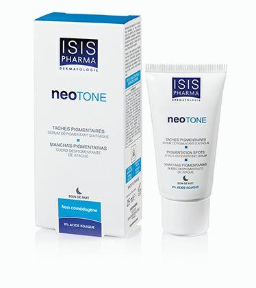 NeoTone. Sérum dépigmentant d'attaque. 25ml 4% lumiskin, il hinibe les récepteurs responsables de l'activité de la tyrosinase. Régulation de la mélanogénèse 0.1%, réduit la mélanine.