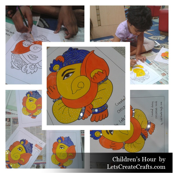 Children painting Ganesha on the occassion of Ganesh Chaturthi here in Hyderabad.