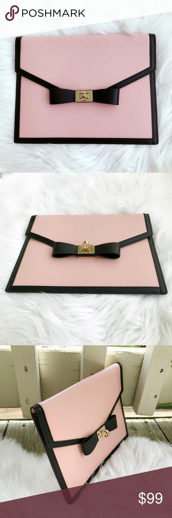 Kate Spade Mayfair Drive Bow Envelope Clutch NWOT, beautiful baby pink envelope clutch. Spade shape button closure🎀 kate spade Bags