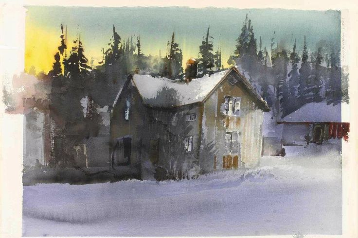 Lars Lerin (b. 1954, Sweden) sunlit house in the winter landscape watercolour. 51 x 75 cm.