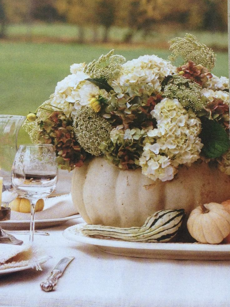 hydrangeas and queen Annes lace in a white pumpkin