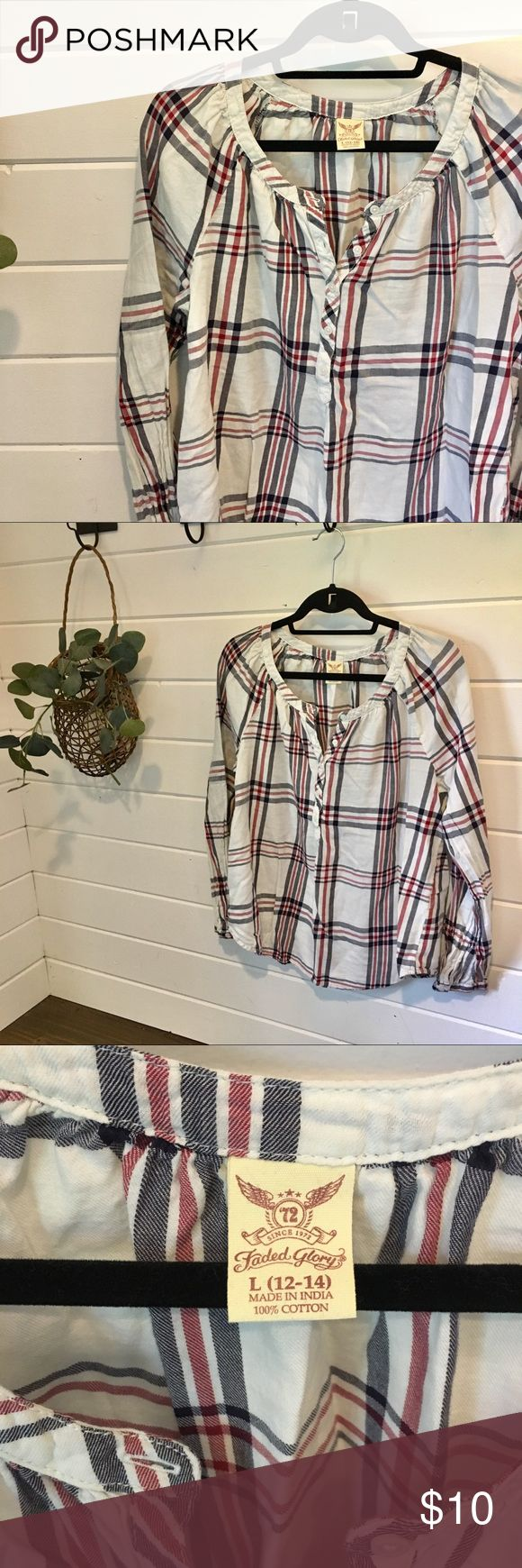 Red and White Plaid Top Only worn once! Perfect for Independence Day get togethe…