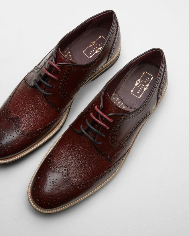 Leather wingtip derby brogues - Dark Red | Shoes | Ted Baker