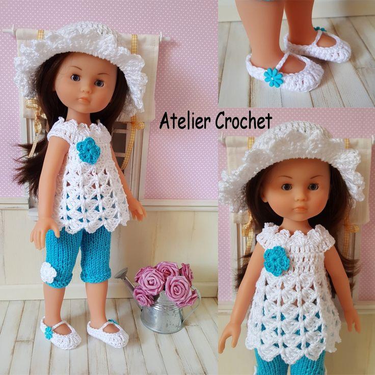 133- FICHE PATRON CROCHET et TRICOT Ensemble Wendy pour poupée Chérie de Corolle ou Paola Reina : Jeux, jouets par atelier-crochet