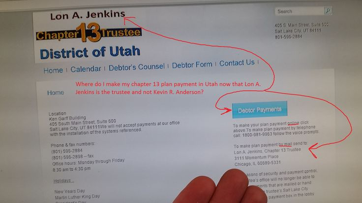Where do I make my chapter 13 plan payment in Utah now that Lon A. Jenkins is the trustee and not Kevin R. Anderson?