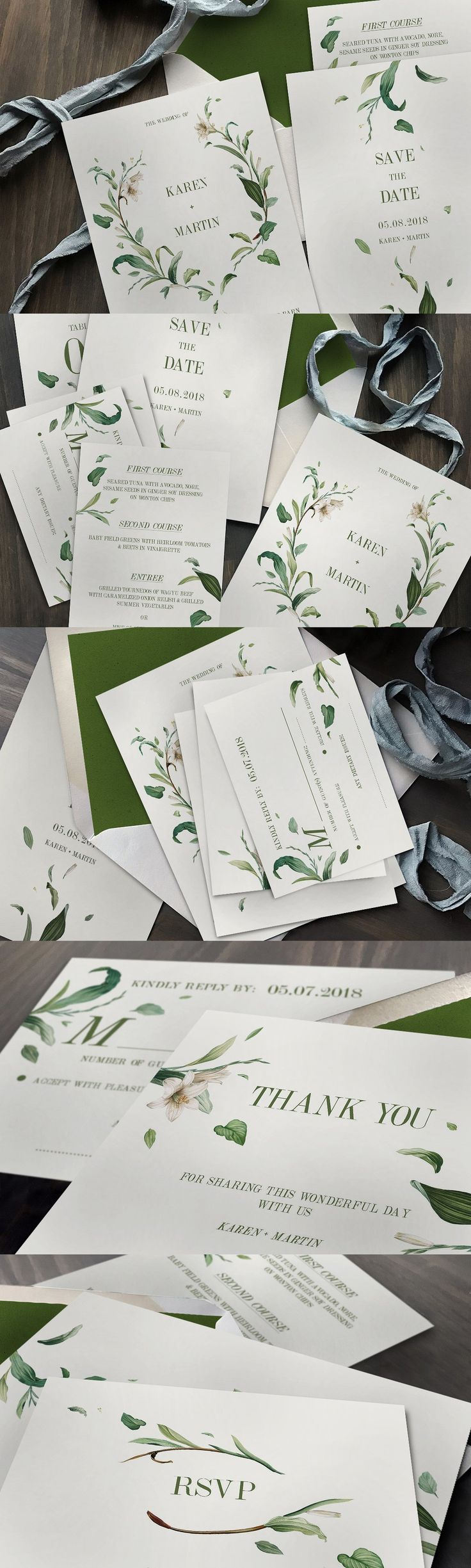 free wedding invitation psd%0A Green Foliage Wedding Invitation PSD  PDF