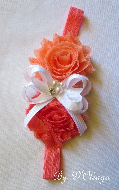 Peach and Coral Baby Headband- Shabby Chic Headband- Baby Girls headband- Girls Headband-Elastic Headband-Stretch Headband-Made to Order!!!!