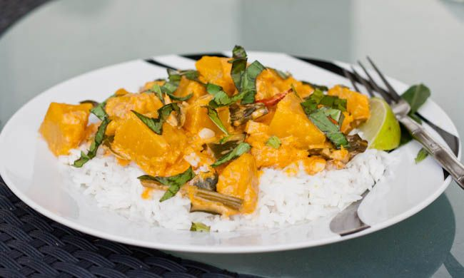 Thai Squash Red Curry - Dairy Free, Gluten Free and can be made Vegan! Dinner ready in 30 mins! http://avocadopesto.com/2013/01/30/thai-squash-red-curry/