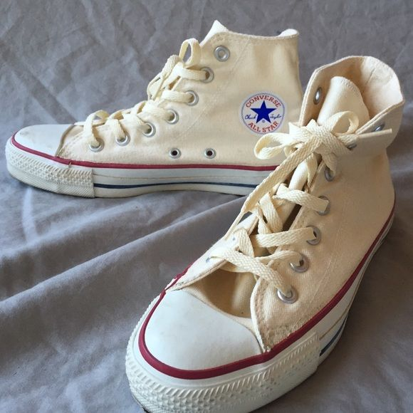 Cream Converse All Stars High Tops Vintage Size 6 These cream colored High Tops have been gently worn so they have a vintage look and feel with slight scuffing on toe, heel and sole. Ladies size 6/ men's size 3. No box. Converse Shoes Sneakers