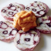 """Caramelized brain on a carpaccio pancreas. But according to the page """"Cooking with Gelatin"""" this is part of a fancy dinner. Open the 2011 Riesling for """"monk fish calamari roll with mousse of bell pepper""""."""