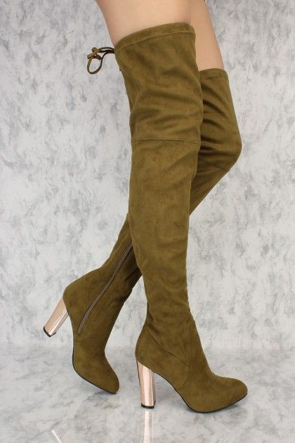 c15764aee5c Olive Slim Pointy Toe Thigh High Boots Metallic Chunky Heel Faux Suede  AD
