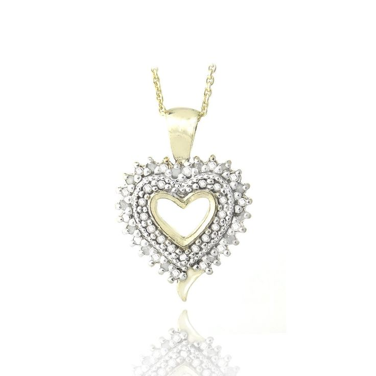 18K Gold over Sterling Silver 1/8 Ct Diamond Heart Necklace