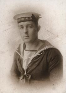 Leading Telegraphist Donald McKenzie who as part of the commissioning crew of HMAS Australia (I) in Portsmouth sailed into Sydney on 4 October 1913