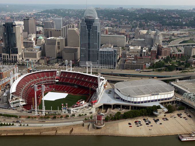 An Aerial View Of Great American Ball Park And US Bank Arena - Us bank arena cincinnati map